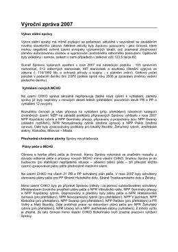 Výroční zpráva 2007 - Správa CHKO Kokořínsko