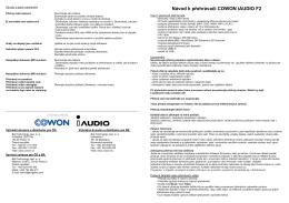 Návod k přehrávači COWON iAUDIO F2