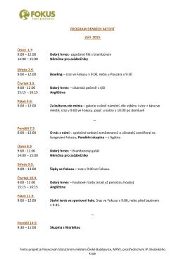 PROGRAM DENNÍCH AKTIVIT -Září 2015