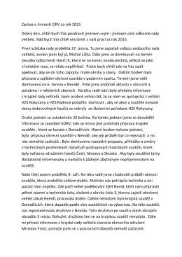 Zpráva o činnosti ORV za rok 2015 Dobrý den