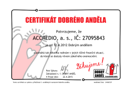 Certifikát Dobrý anděl