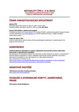 Dobrý den, - Česká parazitologická společnost