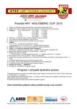 Pravidla HRY WOLFSBERG CUP 2015 Program v případě špatného