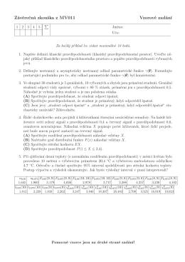 Závěrečná zkouška z MV011 Vzorové zadání