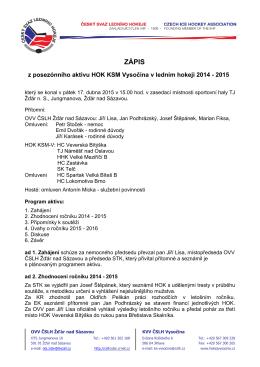 Posezónní aktiv 2014 - 2015