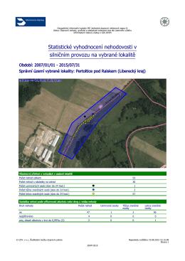 Statistika nehod od 1.1.2007 – 31.7.2015 (v pdf) v lokalitě