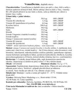 VenusDerma je doplněk stravy pro péči o vlasy, kůži a