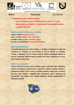 Řešení: Český jazyk CJ_V_05_04 Opakování učiva nižších ročníků