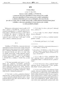 VYHLÁŠKA ze dne 13. října 2015, kterou se mění vyhláška č. 277