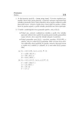 1. Je dán konečný jazyk L = {stan,stop,test}. Vytvořte regulární gra