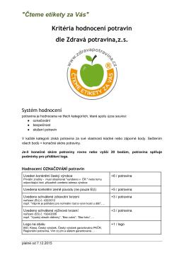 kritérií sdružení Zdravá potravina, z.s.