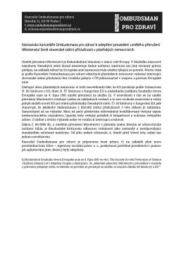 Stanovisko Kanceláře Ombudsmana pro zdraví k odepření