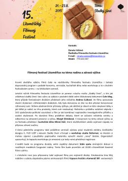 Filmový festival Litoměřice na téma rodina a zdravá výživa