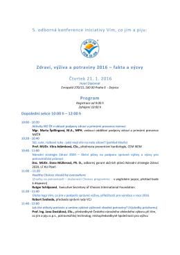 5. odborná konference iniciativy Vím, co jím a piju: Zdraví, výživa a