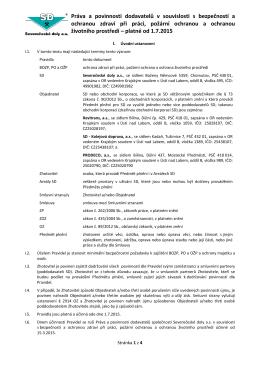 Práva a povinnosti dodavatelů v souvislosti s bezpečností a