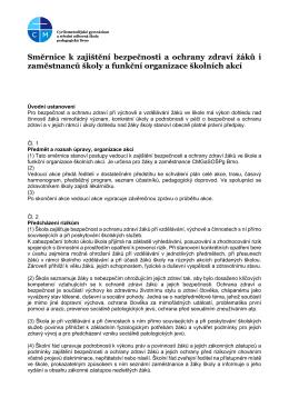 Směrnice k zajištění bezpečnosti a ochrany zdraví žáků i
