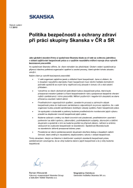 Politika bezpečnosti a ochrany zdraví při práci skupiny Skanska v