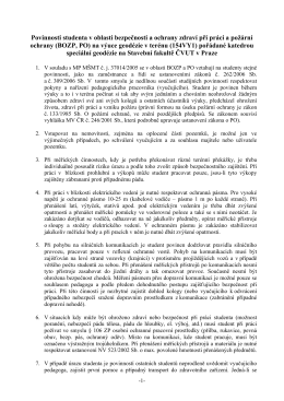Povinnosti studenta v oblasti bezpečnosti a ochrany zdraví při práci