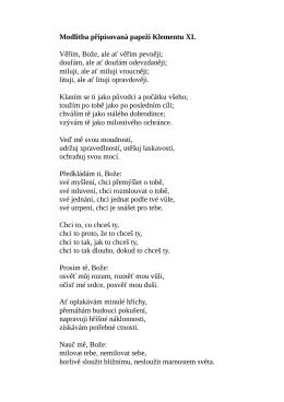 Modlitba připisovaná papeži Klementu XI.