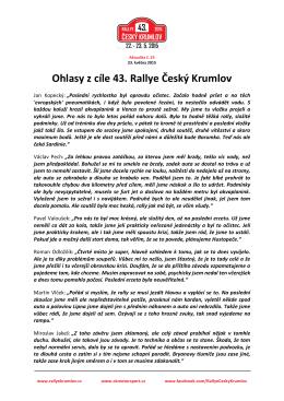 Aktualita 25: Ohlasy z cíle 43. Rallye Český Krumlov