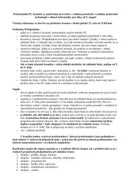 Charakteristika a informace o profesionálním kroužku