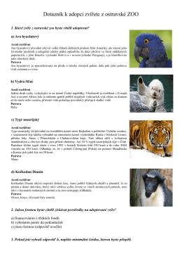 Dotazník k adopci zvířete z ostravské ZOO