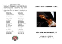 IMATRIKULACE STUDENTŮ - Vysoká škola Karlovy Vary