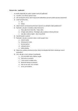 Význam slov – opakování - na otázky odpovídej do sešitu (zadání