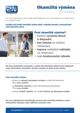 Okamžitá výměna - 2N Telekomunikace a.s