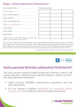 Karta pacienta léčeného přípravkem RoActemra®