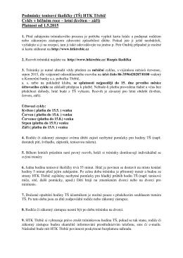 Pravidla a podmínky Tenisové školičky léto 2015