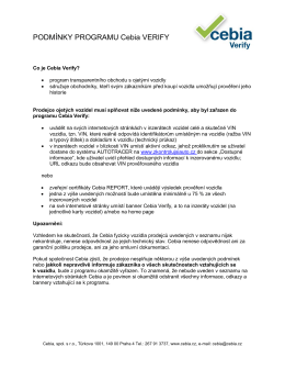 Podmínky programu Cebia Verify.
