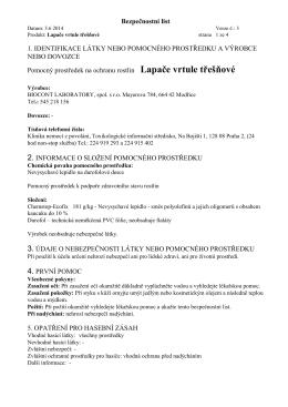 Bezpečnostní list 1. IDENTIFIKACE LÁTKY NEBO