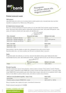 PDF Přehled úrokových sazeb Platnost od 01. 09. 2015