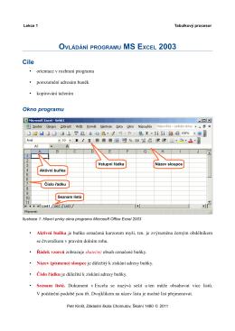 MS Excel - Ovládání programu - Základní škola Chomutov, Školní