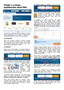 Vítejte v e-shopu doplňkového zboží PNS - E