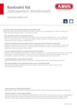 Kontrolní list Zabezpečení domácnosti