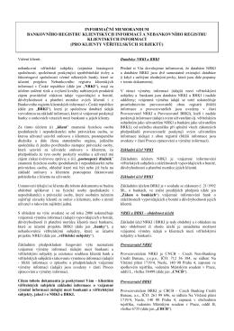 Informační memorandum NRKI/BRKI