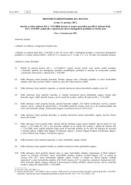 PROVÁDĚCÍ NAŘÍZENÍ KOMISE (EU) 2015/ 2345 - ze dne