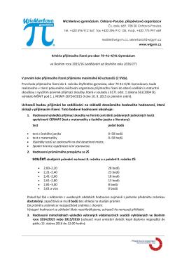 Kritéria přijímacího řízení pro obor 79-41-K/41