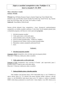 Zápis ze zasedání zastupitelstva obce Nadějkov č. 6, které se