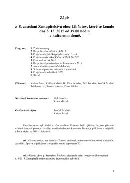 Zápis z 8. zasedání Zastupitelstva obce Libňatov, které se konalo