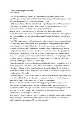 """Čína už přešlapuje před branami Miloš Balabán """"Těší mě, že"""