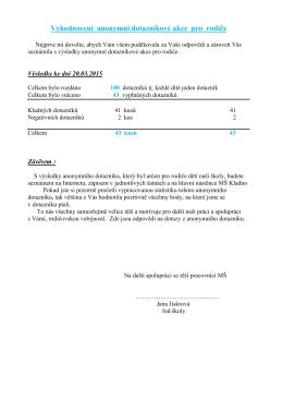 Vyhodnocení anonymního dotazníku pro rodiče - 20ms