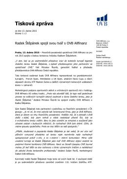 Radek Štěpánek spojil svou tvář s OVB Allfinanz ( 153 K )