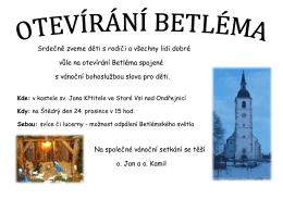 Plakátek otevírání Betléma
