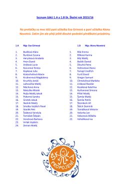 Seznam žáků 1.A a 1.B šk. Školní rok 2015/16 Na prvňáčky se moc