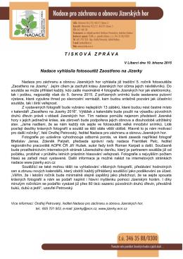 TISKOV Á ZPR Á VA Nadace vyhlásila fotosoutěž Zaostřeno na Jizerky