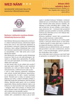 bulletin Mezi námi 2015 - Středočeská vědecká knihovna v Kladně
