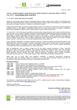 tisková zpráva - Retail Golf Cup 2015